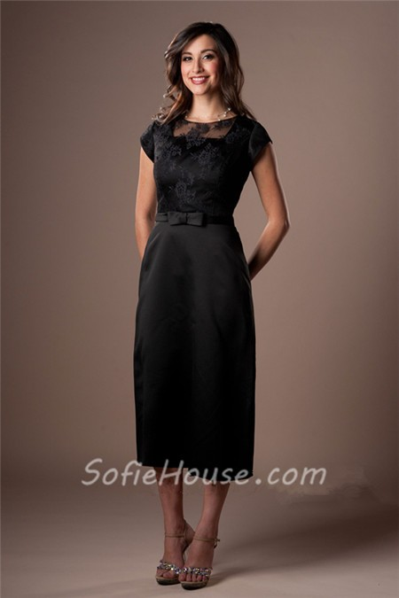Modest Sheath Black Satin Lace Tea Length Party Bridesmaid