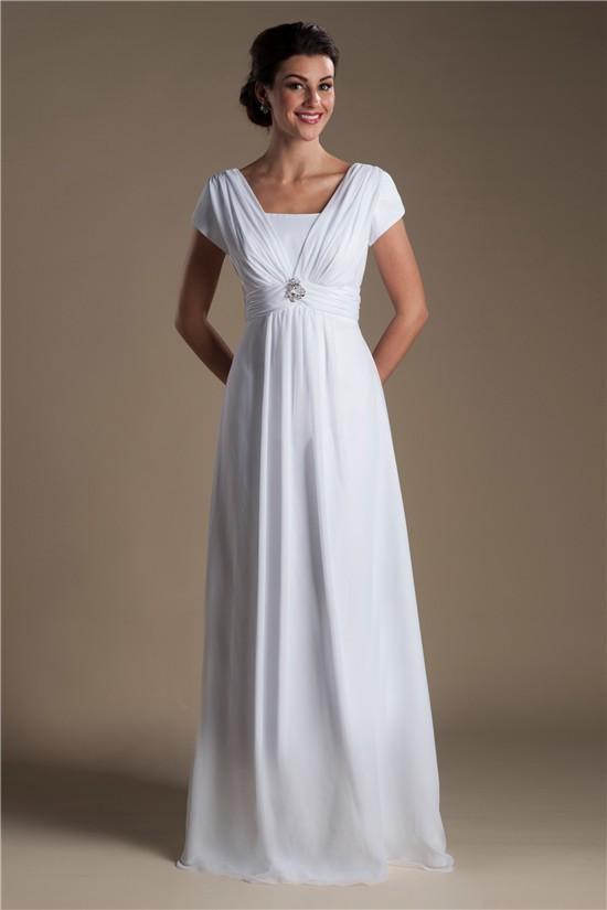 Modest sheath cap sleeve corset back chiffon beaach for Sheath wedding dress with cap sleeves