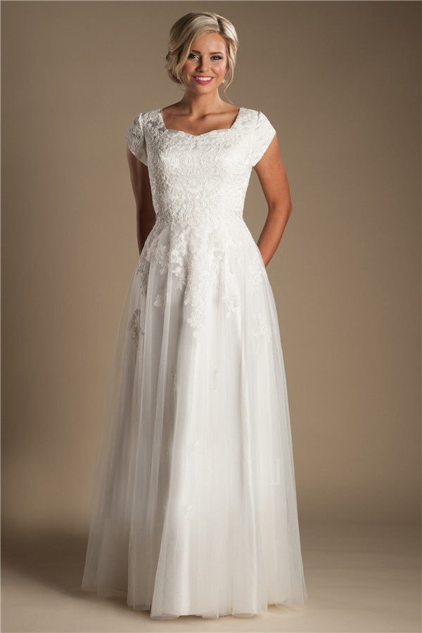 modest sheath cap sleeve tulle lace wedding dress without