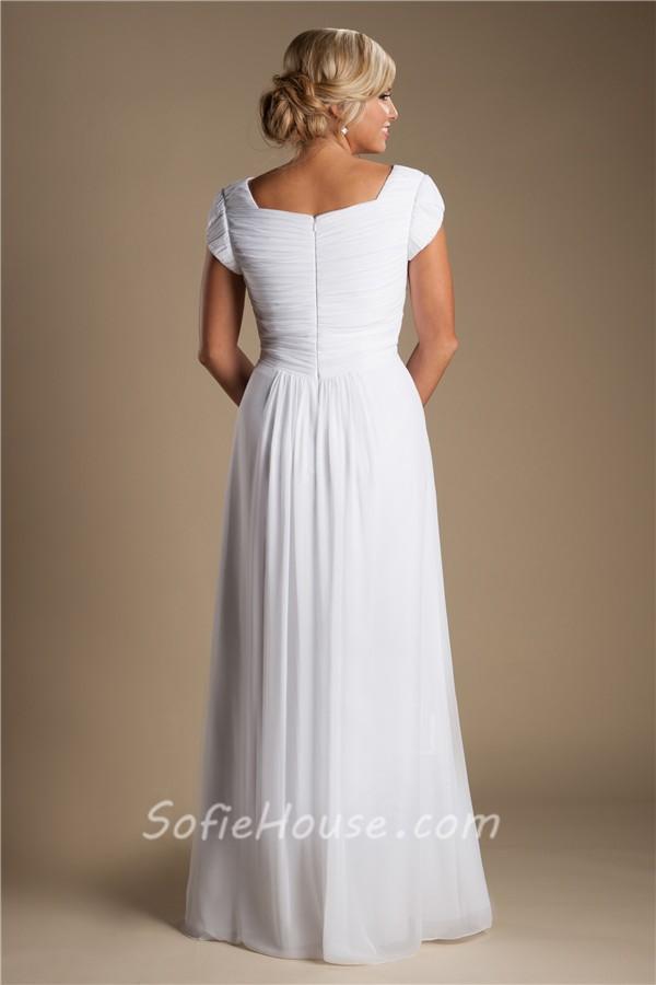 Modest sheath cap sleeve white chiffon destination beach for Cap sleeve sheath wedding dress