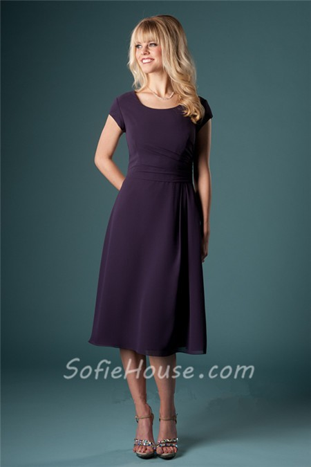 Short Modest Dresses in Chiffon