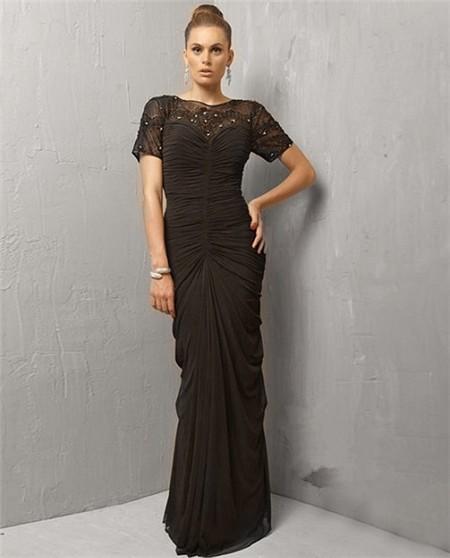 Sheath Long Black Chiffon Beaded Evening Wear Dress With Sleeve