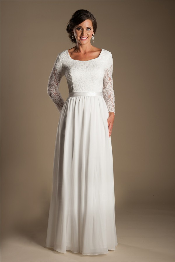 Modest sheath scoop neck long lace sleeve chiffon beach for Scoop neck sheath wedding dress