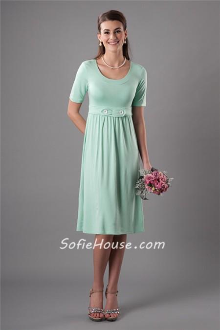 Modest Sheath Scoop Neckline Short Mint Green Bridesmaid Dress With ...