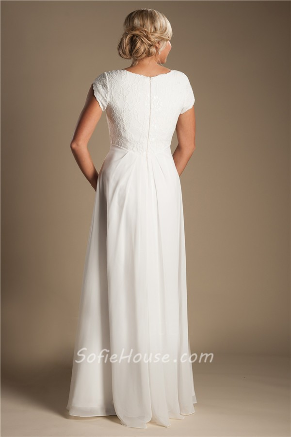 Modest sheath sleeve lace chiffon destination beach for Wedding dresses without sleeves