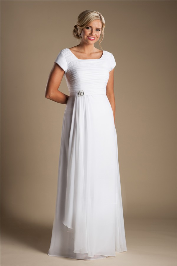 Modest sheath sleeve white chiffon garden beach wedding for White beach wedding dresses for guests