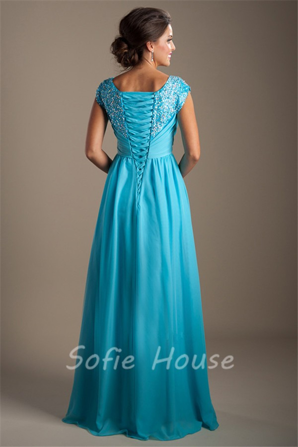 Modest Sheath Square Neck Cap Sleeve Long Turquoise