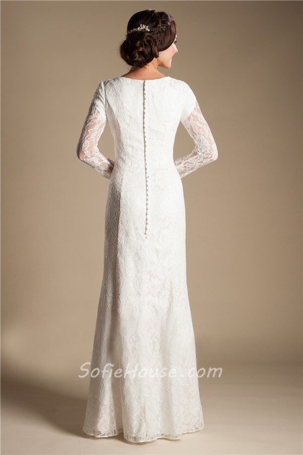 modest sheath sweetheart long sleeve lace wedding dress