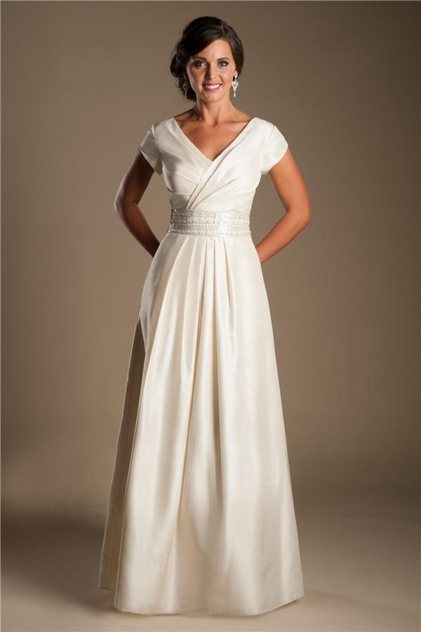 Modest sheath v neck sleeve dark ivory taffeta draped for Sheath v neck wedding dress