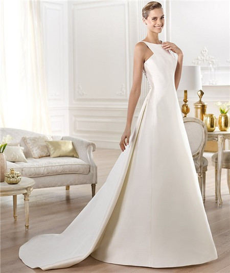 Modest simple a line bateau neck satin wedding dress with for Satin a line wedding dress