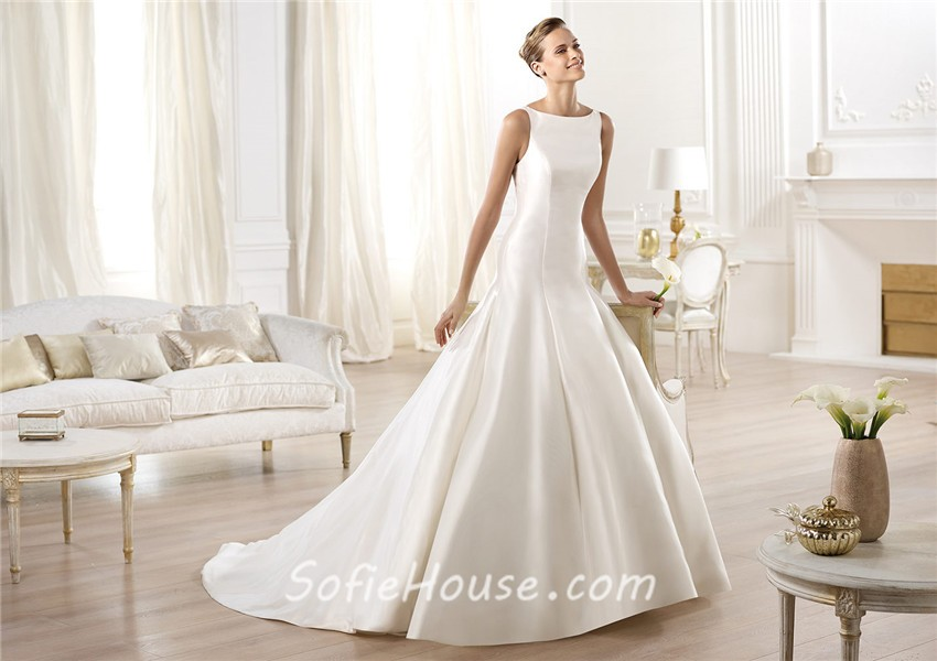 Eirene Modest Wedding Dress Simple Wedding Dress Bridal: Modest Simple A Line Bateau Neckline Satin Wedding Dress