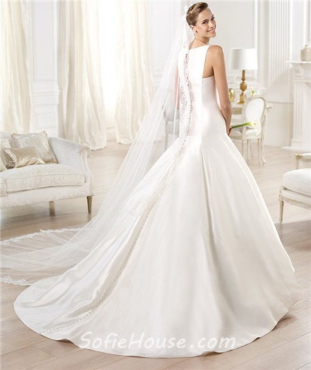 Simple A Line Wedding Dress: Modest Simple A Line Bateau Neckline Satin Wedding Dress