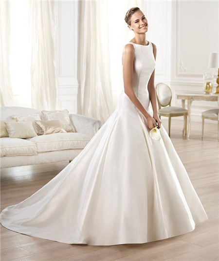 Modest simple a line bateau neckline satin wedding dress for Modest a line wedding dresses