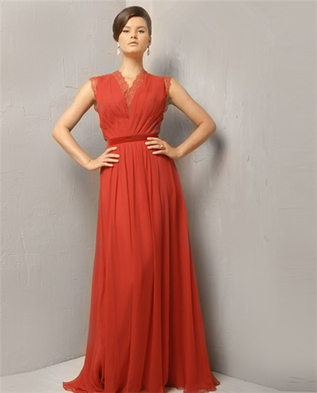 2e195b7c42 Modest Simple A Line Princess Long Coral Chiffon Evening Wear Dress With  Belt