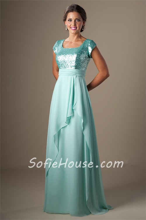 Modest Square Neck Cap Sleeve Long Aqua Sequined Chiffon