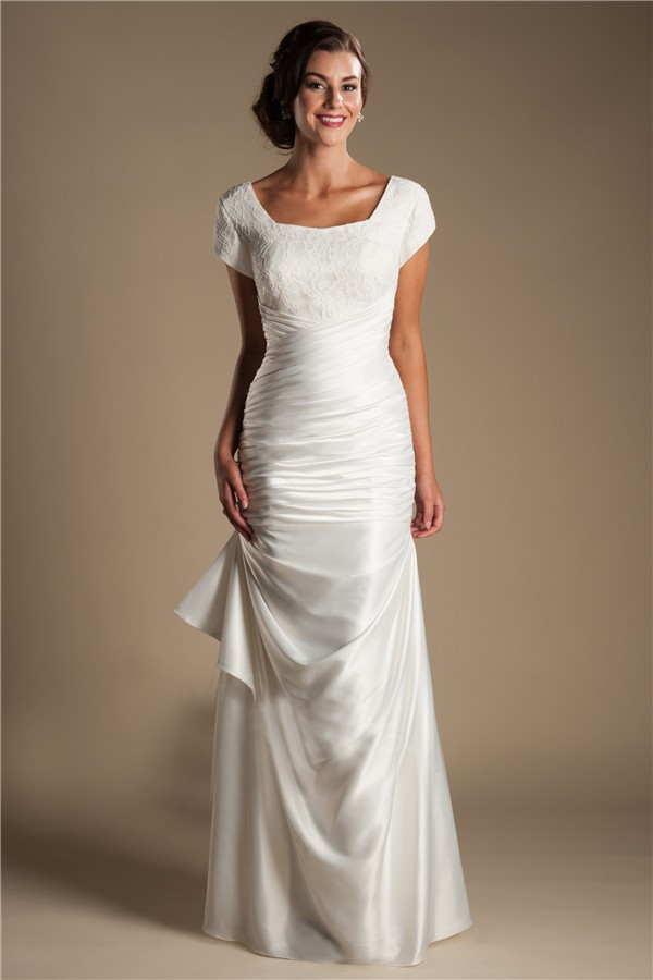 Modest square neck cap sleeve silk satin ruched wedding dress for Satin silk wedding dresses