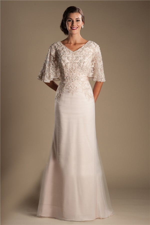 Modest v neck flutter sleeve champagne tulle lace beaded for Champagne colored wedding dresses with sleeves