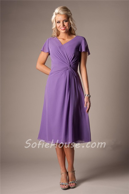 modest v neck ruffled sleeves lilac chiffon ruched short