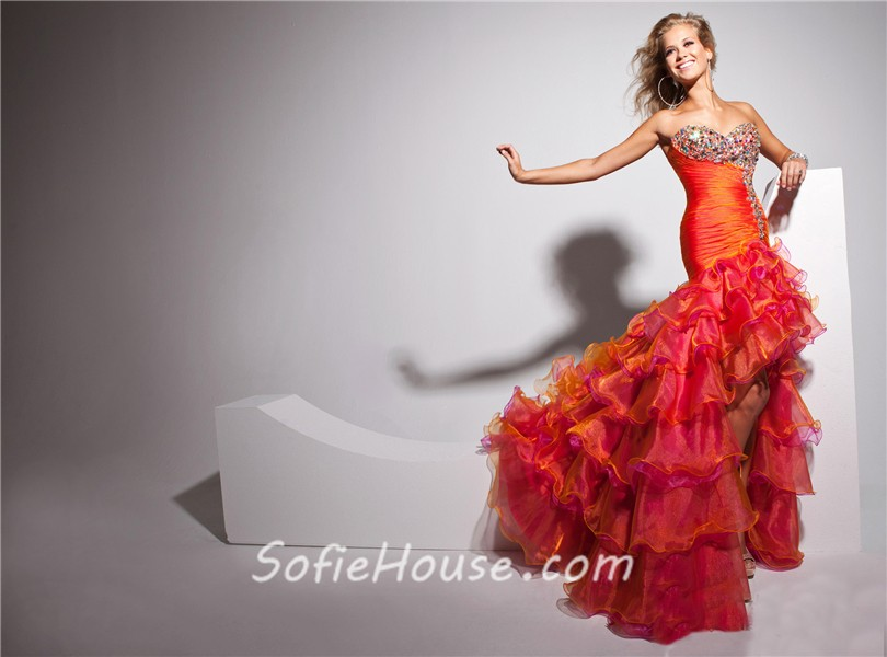 New High Low Sweetheart Long Orange Multi Color Prom Dress With ...