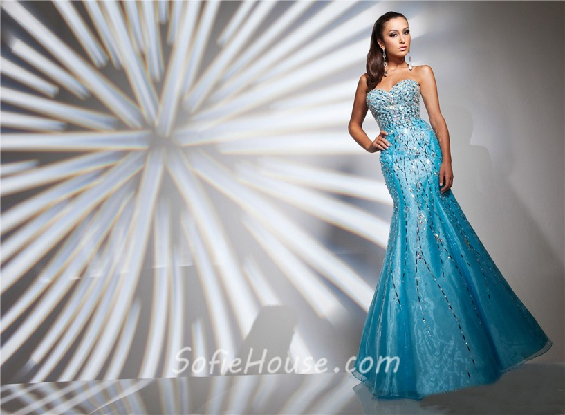 Light blue mermaid prom dresses