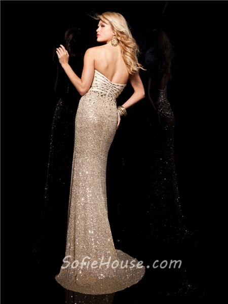 New Slim Sweetheart Long Gold Sequined Beaded Evening Prom Dress ...