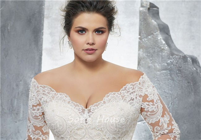 Plus Size Wedding Gowns With Sleeves: Off The Shoulder Three Quarter Sleeve Lace Plus Size