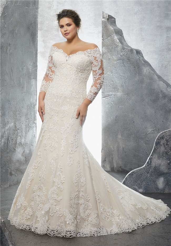 Off the shoulder three quarter sleeve lace plus size for Free plus size wedding dress catalogs