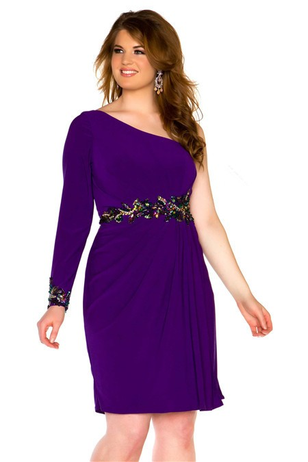 Shoulder Short Purple Chiffon Beaded Plus Size Cocktail Prom Dress ...