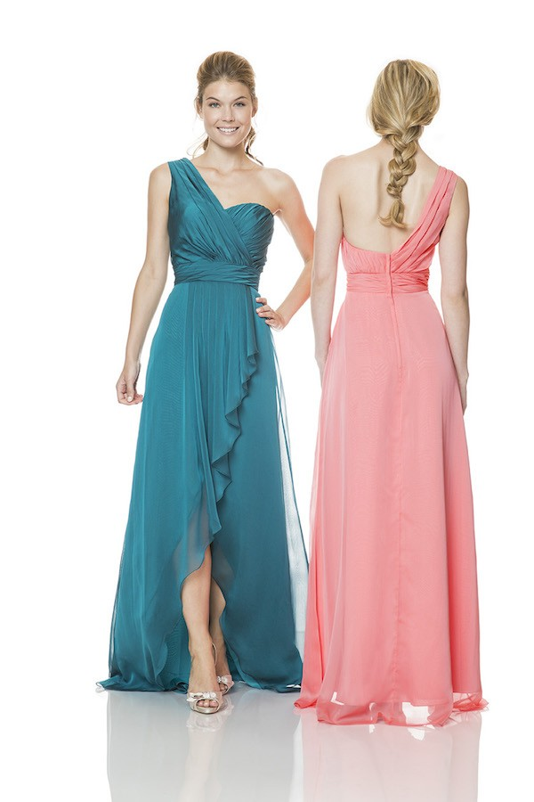 One Shoulder Strap Long Jade Green Chiffon Ruffle Occasion Bridesmaid Dress With