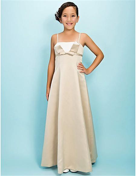 d7390c3d9 Pretty A line Spaghetti Strap Long Champagne Satin Junior Bridesmaid Dress