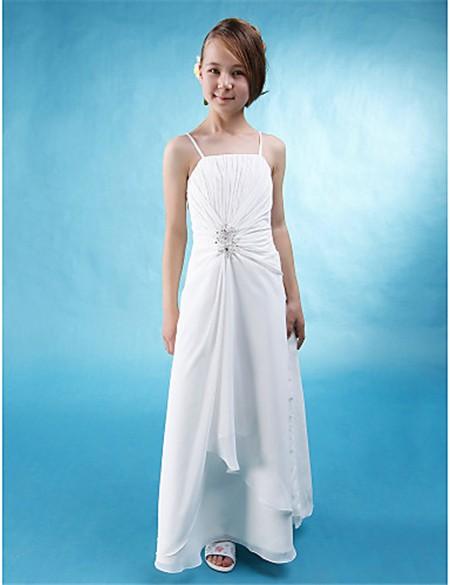White Spaghetti Strap Long Dress