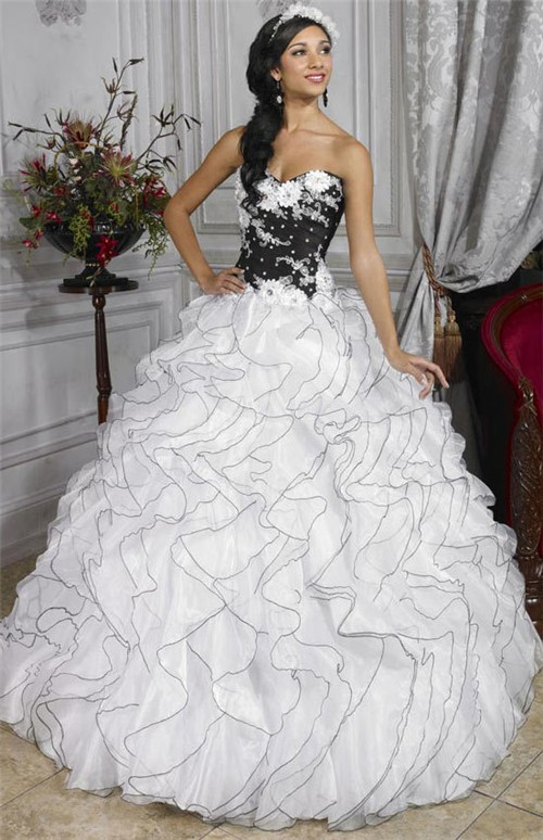 d52c6b4960e Pretty Ball Gown Black and White Organza Quinceanera Dress With Beading  Ruffles