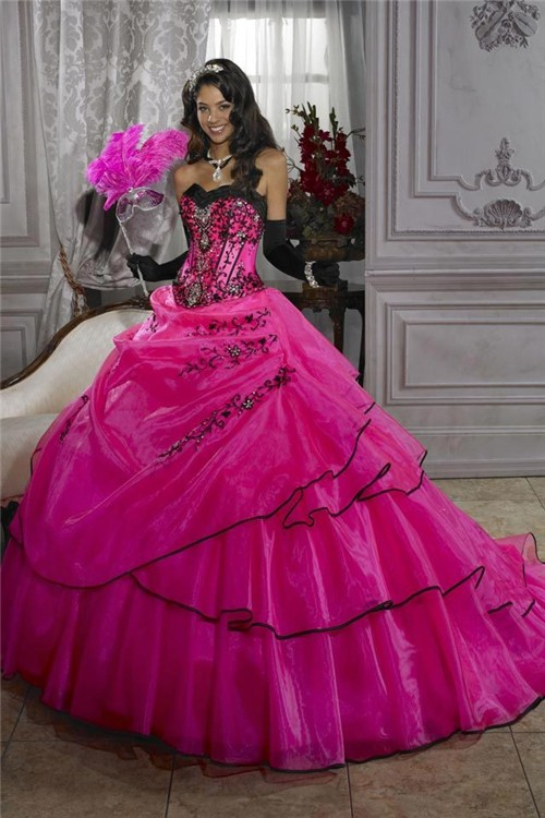 Pretty Ball Gown Fuchsia Organza Quinceanera Dress With