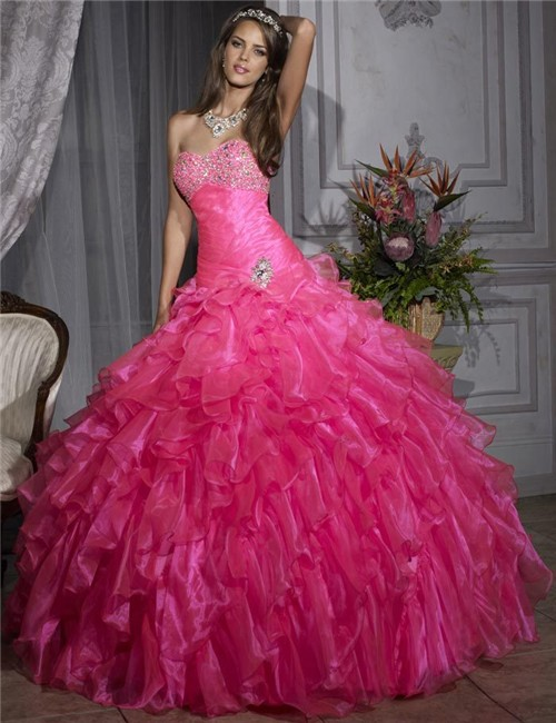 c422fa3ea1c Pretty Ball Gown Hot Pink Organza Quinceanera Dress With Beading Ruffles