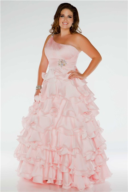 Pretty Ball Gown One Shoulder Long Blush Pink Silk Ruffles Plus Size