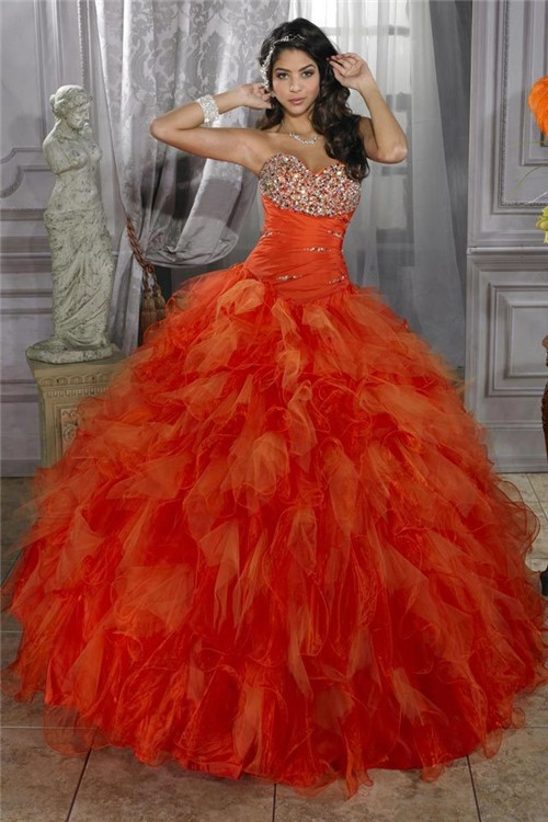 Pretty Ball Gown Orange Organza Quinceanera Dress With