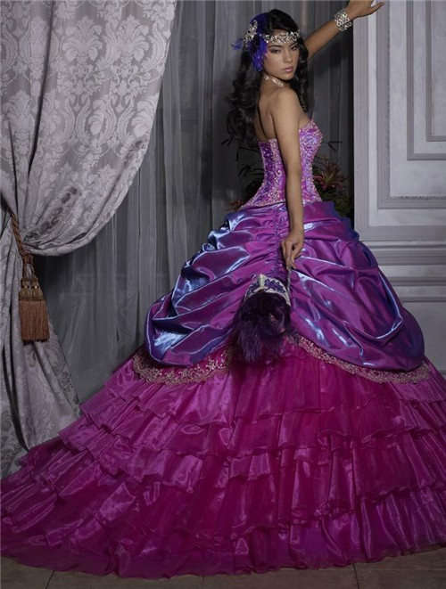 Pretty Ball Gown Purple Beading Organza Quinceanera Dress With ...
