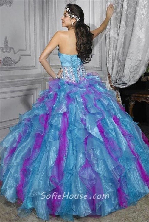 Pretty Ball Gown Purple Blue Organza Quinceanera Dress With ...