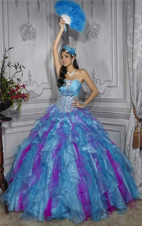Pretty Ball Gown Purple Blue Organza Quinceanera Dress
