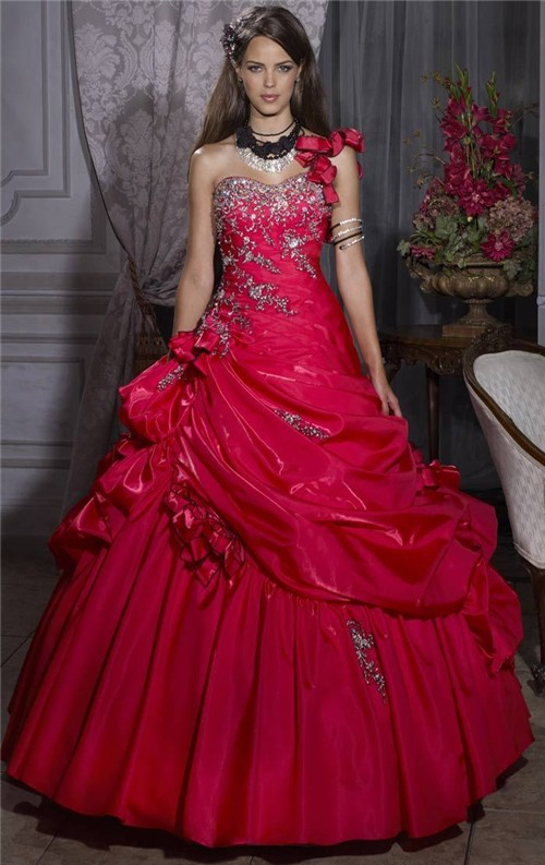 aa5a2458225 Pretty Ball Gown Red Taffeta Quinceanera Dress With Embroidered Beading