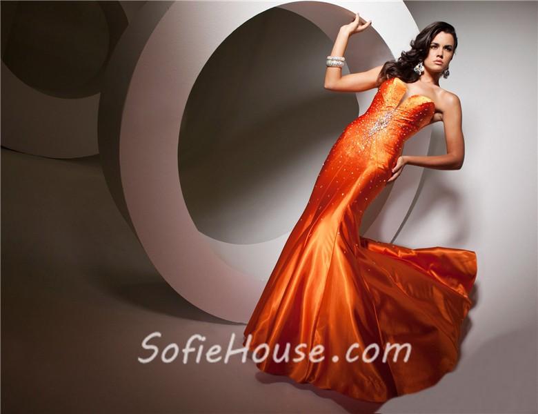 Bright Orange Mermaid Prom Dresses Pretty Mermaid Sweethe...
