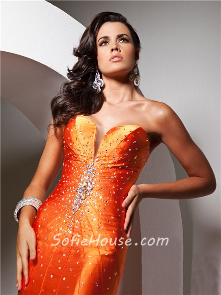 pretty mermaid sweetheart long neon orange silk evening prom dress