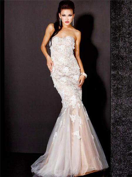 Pretty Mermaid Sweetheart Long Nude Tulle Lace Evening Prom Dress ...