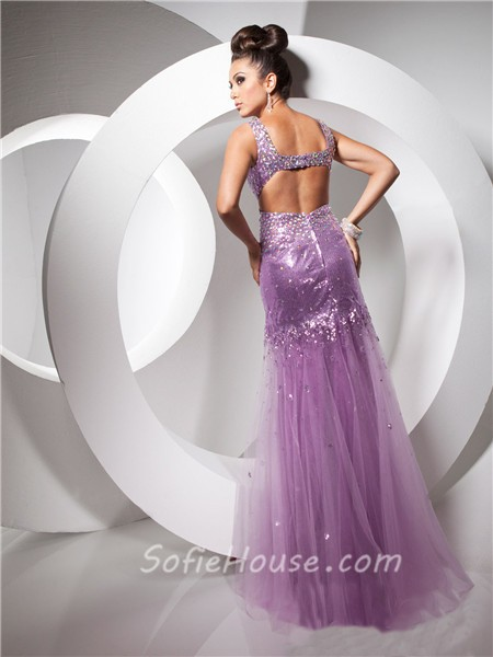 Pretty Sheath Backless Long Purple Lilac Sequined Tulle Prom Dress ...