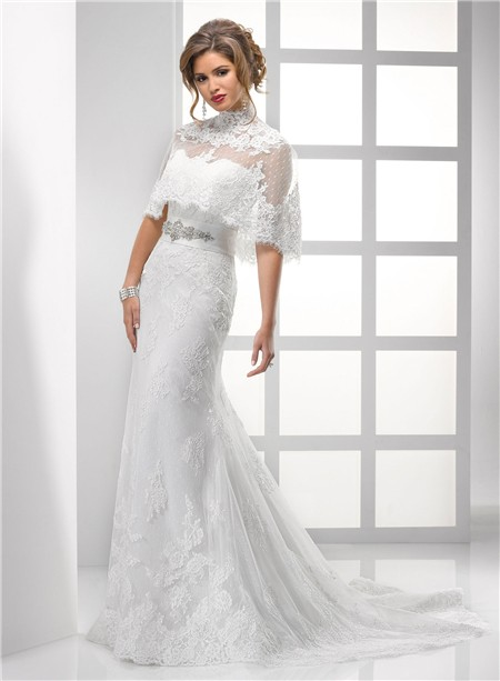 Sheath Strapless Vintage Lace Wedding Dress With Wrap Crystal - Vintage Wedding Dresses