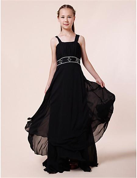 Black chiffon jr bridesmaid dresses