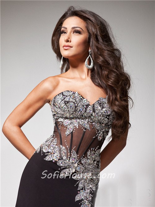 14746389f53 Pretty Sweetheart See Through Long Black Chiffon Tulle Beaded Corset Prom  Dress With Slit