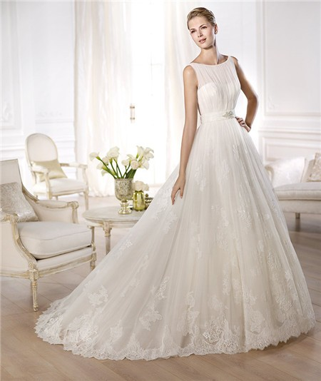 Princess A Line Bateau Neckline Sleeveless Lace Tulle Crystal Belt