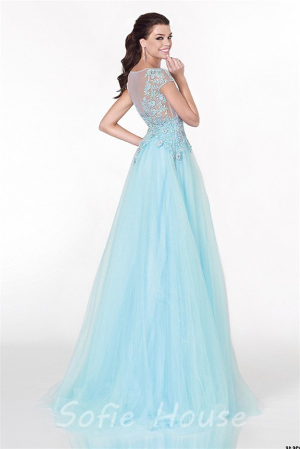 cap quinceanera v sleeve with simple sleeves deep blue gorgeous light neck triumph dress beaded