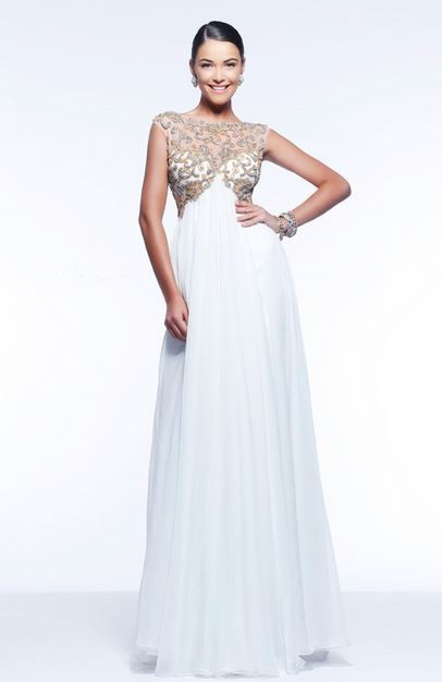 Princess A Line Illusion Neckline Empire Waist Long White Chiffon ...